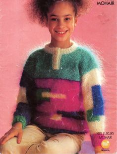 """Vintage childrens mohair sweater knitting pattern pdf 10ply mohair girls jumper shapes geometric 24-34"""" mohair aran worsted 10ply Download by Minihobo on Etsy"""