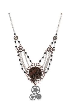 Wedding Ladies Brown,Silver Alloy Necklace | Formal | Bridal | Prom | Tuxedo || Sprocket Multi-Strand Necklace
