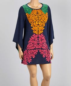 Another great find on #zulily! Navy & Pink Floral Sweater Dress - Plus #zulilyfinds