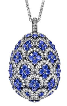 RosamariaGFrangini | My DeepBlue Jewellery | TJS | Faberge ~ Sapphire and white diamond Egg Pendant.
