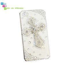 Handmade hard case, back cover for iPhone 4 & 4S: Bling diamond cross (custom are welcome)