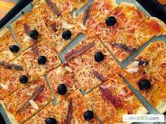 Pizza sabrosa de anchoas y aceitunas negras - La dieta ALEA - blog de nutrición y dietética, trucos para adelgazar, recetas para adelgazar