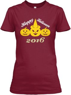 Happy Halloween 2016 Cardinal Red T-Shirt Front