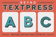 Ad: Retro Textpress – Illustrator Styles by Sivioco on Retro Textpress is a set of 20 Graphic Styles for Adobe Illustrator that enables you to apply retro text effects to your designs with just Effects Photoshop, Text Effects, 3d Text, Seamless Textures, Layer Style, Graphic Design Studios, Line Patterns, Texture Design, Design Tutorials
