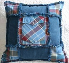 Sewing Pillows Pillow with pocket from shirts - Memories of Papa was a very special project in honor of a very special man. His daughter had asked me to create a quilt from his clothing for her mother but I ended up creating several unique ite… Memory Pillow From Shirt, Memory Pillows, Memory Quilts, Old Shirts, Dad To Be Shirts, Ropa Upcycling, Memory Crafts, Denim Crafts, Jean Crafts