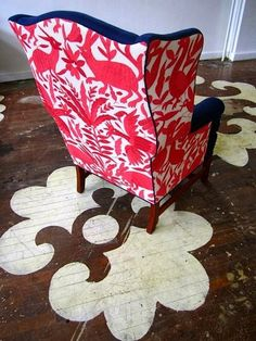 A chair covered on the back with red Otomi fabric by Chairloom. Otomi Textiles as Upholstery. via Remodelista Eclectic Upholstery Fabric, Living Room Upholstery, Furniture Upholstery, Upholstery Repair, Upholstery Tacks, Upholstery Cleaning, Refinished Furniture, Stencil Wood, Stencils
