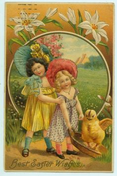 ANTIQUE EASTER POSTCARD - GIRLS IN BONNETS WITH CHICKS