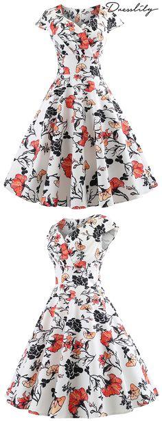 039a56d42a6 High Waist Floral Print Flare Wrap Dress. dresslily  vintagedress
