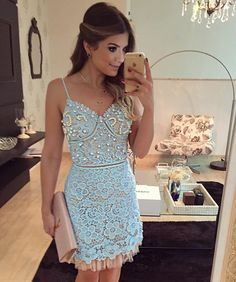 Prom Dresses Elegant, Light blue lace V-neck beading short Party dresses with spaghetti straps, Mermaid prom dresses, two piece prom gowns, sequin prom dresses & you name it - our 2020 prom collection has everything you need! Ball Gown Dresses, Cheap Prom Dresses, Homecoming Dresses, Short Dresses, Formal Dresses, Party Dresses, Dress Party, Dresses Elegant, Beautiful Dresses