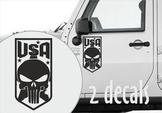 USA Skull & Star Car Truck Door Decal Stickers - Ram F150 Silverado Tundra Truck Bed Lights, Chrysler Hemi, M Class, Hub Caps, Car Humor, Alloy Wheel, Mopar, Vinyl Decals, Skull