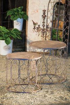 Powder Grey Metal Bistro Nested Tables - Set of 2