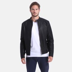 Jack & Jones - Tano Biker Jacket Jack Jones, Fitness Fashion, Biker, Bomber Jacket, Slim, Guys, Casual, Jackets, Clothes