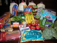 An example grocery run for a week on a $50 budget. (Feeds two adults and two children.)