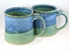 Stoneware pottery mug, green and blue with thumb rest- extra-large (14oz) by CenteredVessel on Etsy