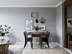 Colores: Gris y madera oscura-colors: grey & wooden trim White Floor Lamp, Modern Floor Lamps, Modern Lighting, Interior Design Institute, Scandinavian Interior Design, Dining Room Design, Dining Area, Grey Walls, Interiores Design