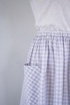 Gathered Skirt for All Ages | The Purl Bee--love the gingham pockets set on the diagonal.