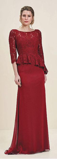 Glamorous Lace & Silk-like Chiffon Bateau Neckline 3/4 Length Sleeves Sheath/Column Mother Of The Bride Dresses With Peplum