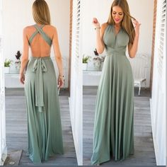 Maxi green dress Thick cotton material. Two straps are adjustable to fit your bust and to wear in differs ways. L From waist to bottom: 43-44 inches. Bust fits B to E. Nwot. M waist to bottom: 42-43, bust fit A to D. S waist to bottom: 41-42. Bust: A to D Dresses Maxi