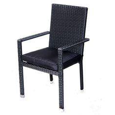 Tuinstoel Nick is een handige stapelbare stoel die gemaakt van wicker. Wicker is licht van gewicht. De tuinstoel is afgewerkt in een zeer mooie en nette zwarte kleur en heeft als extra design eigenschap zilveren poten. Deze stoelen worden geleverd inclusief een bijbehorend zwart kussen ter verhoging van het zitcomfort van de tuinstoel. #Tuinstoel #Tuinstoelen #tuinmeubelen #tuinmeubel #tuinmeubels