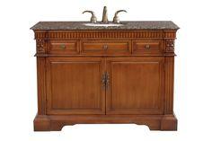 Bellaterra Home 50 inch Single Sink Vanity Set - Base Finish: Wood Light Walnut