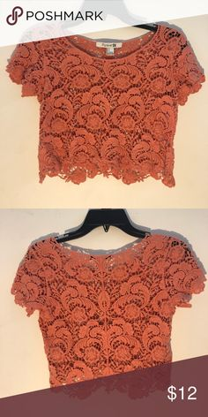 e383d829d806d3 Forever 21 crop top A Forever 21 coral colored crop top with a lattice type  cut. It s been worn once
