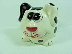 Collectible Whimsical Ceramic Spotted Dog Bank