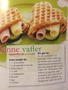 Sunne vafler Yummy Snacks, Healthy Snacks, Healthy Eating, Yummy Food, Healthy Recipes, Waffle Recipes, Baby Food Recipes, Snack Recipes, Food Map