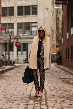 Jacket and Pants: Red Valentino (more Red Valentino here). Shoes: Zara (old). Cape: MiraMira. Bag: Gucci. Sunglasses: Karen Walker 'Super Super'. Sweater: Everlane. Lips: MAC 'Ruby Woo'. Jewelry: David Yurman, Pomellato, Michele, Hermes, BaubleBar.
