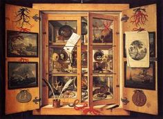 Domenico Remps, Cabinet of Curiosities, 1690s, Opificio delle Pietre Dure, Florence Domenico Remps (also Rems) was an Italian painter of German or Flemish origin. He was active in the second half of 17th century in Venice and was a successful painter of Trompe-l'oeil paintings. This trompe-loeil painting representing a cabinet of curiosities blurs the boundary between real and fictitious space. Trompe-loeil, the French term for eye-deceiver, is a modern word for an old phenomenon: a…