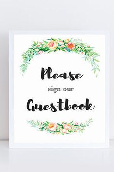 Wedding guest book sign. Instantly download & print.