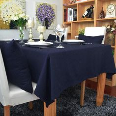 New Cotton Linen Table Cloth Lace Rectangular Tablecloths with Home Wedding Table Navy Blue European-style