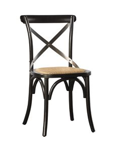 Carol Birch Side Chair - Black + Steel Back