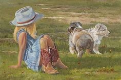 Red Boots and Puppies by June Dudley