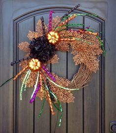 Halloween Wreath Fall Wreath Grapevine Door Wreath Glitter Orange Green Purple Black Hydrangea Door Decoration Indoor Outdoor Decor by AnExtraordinaryGift on Etsy