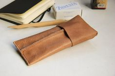 Leather case for pens or glasses  Café latte light brown by rensz, €22.00