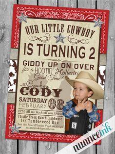 Custom Cowboy Western Birthday Party Invitations by NuanceInk