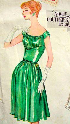Vintage 50's VOGUE Couturier Original Sewing Pattern 132 - RARE -  GLAMOROUS Dress & Coat - size 16. $75.00, via Etsy.