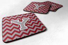 Letter Y Chevron Crimson and Grey Foam Coaster Set of 4 CJ1043-YFC