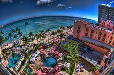 From Inside the Fishbowl ~ Royal Hawaiian Hotel, Waikiki, Oahu Hawaii Resorts, Inclusive Resorts, Hawaii Vacation, Vacation Travel, Vacation Places, Hawaii Travel Deals, Beautiful Islands, Beautiful Places, Amazing Places