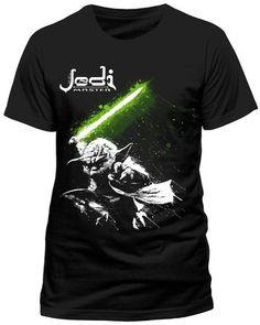 Star Wars Pour des hommes T-shirt - Yoda Jedi Master (Noir) (Grand)