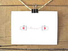 Greeting Card: Long distance love card, blank inside, Valentine's Day. $3.75, via Etsy.
