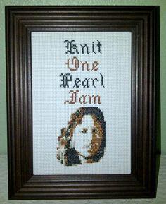 Pattern Funny Cross Stitch Knit One Pearl Jam Eddie Vedder Rock Star Celebrity Rude Humorous Subversive DIY PDF Original. $5.00, via Etsy.