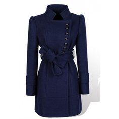 Dark Blue Puff Sleeve Women Stand Collar Wool Coat M/L @YIF11582dbl ($32) via Polyvore