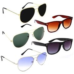 28c719461483f Elligator - Combo Set of 5 UV Protect Aviators Unisex sunglasses Wayfarer  Sunglasses