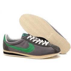 Men Nike Cortez Oxford Cloth Shoes Deep Gray Green