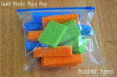 1. Quiet Blocks Busy Bag Who would have thought that a few kitchen sponges could be transformed into building blocks! Toddlers will enjoy lining them up, sorting them, building a tower and knocking it down… without the noise!