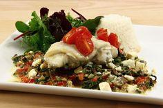 Ovnbagt torsk med feta og spinat - En opskrift fra Alletiders Kogebog blandt over 38.000 forskellige opskrifter på