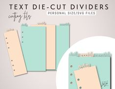 "This dividers & page market set will fit 6-ring planners in Personal Size like Filofax Personal & Kikki-k Medium (3.7 x 6.7″ or 95mm x 171mm). This SVG pack contains: - Dividers Set includes ""daily"", ""weekly"" & ""monthly"" top tabs. Texts don't overla"
