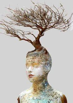 Sculpture by Kath Girdler Engler Collage Kunst, Mannequin Art, Drawn Art, 3d Fantasy, 3d Studio, Paperclay, Little Doll, Art Plastique, Tree Art