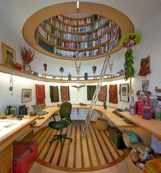 Love this office library combo. I've never seen a book case in the ceiling before. Love it! by travis price